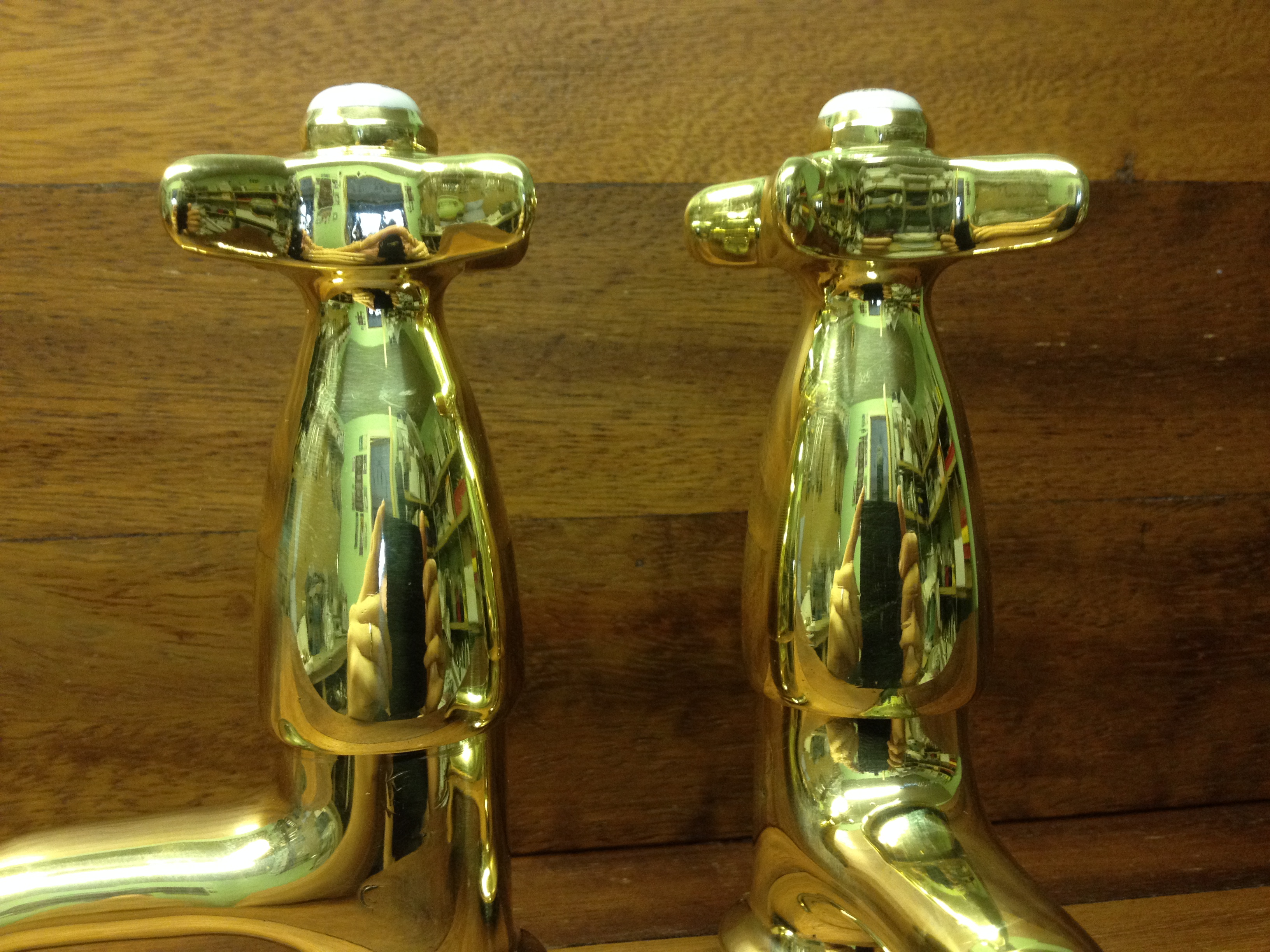 Sanitor polished brass basin taps – FOR SALE