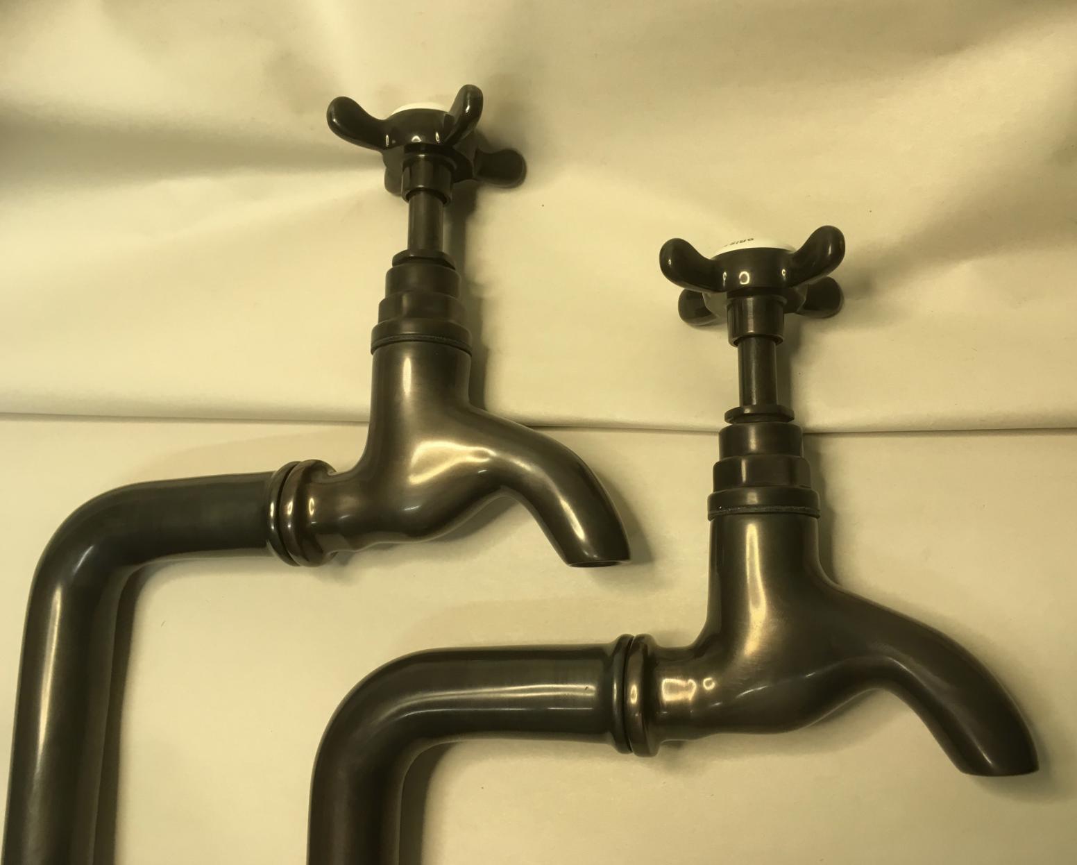 Weathered Bronze Bib taps & stands 1/2″