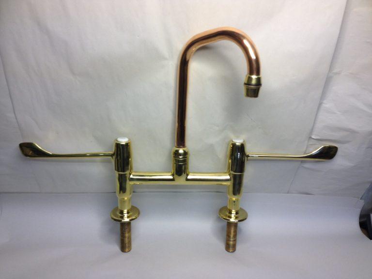 Polished brass Hospital lever taps