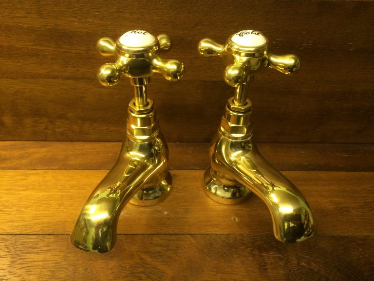 Doulton basin taps in polished brass