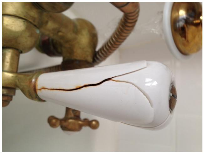 Broken porcelain diverter handles