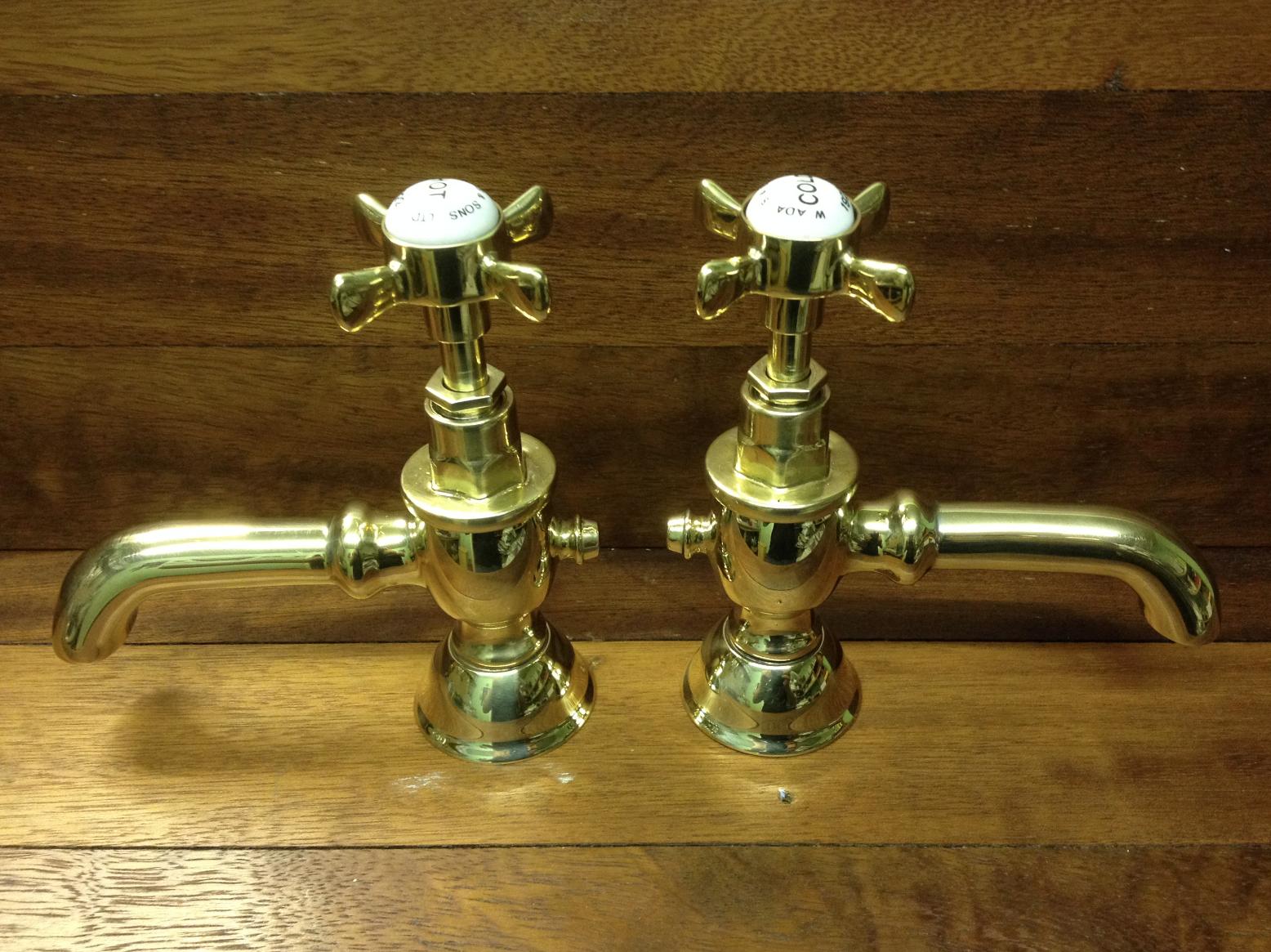 Adams 1922 basin taps in Polished Brass - FOR SALE - Tap Refurbishment f70b4feed