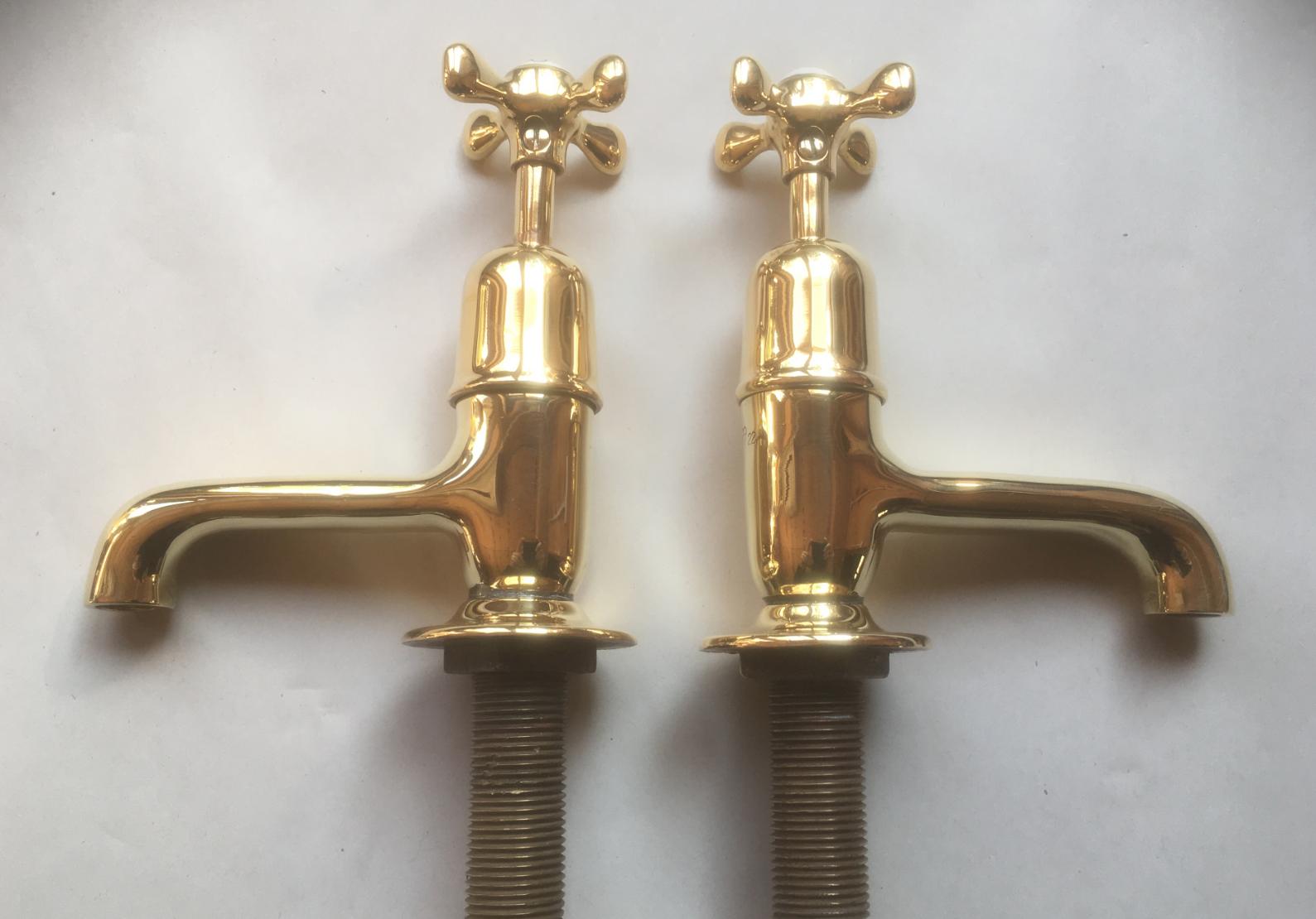 Polished brass basin taps 3.5″