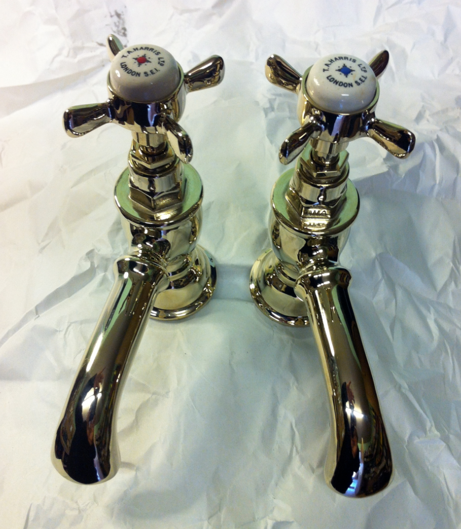 Polished Brass basin taps (T A Harris) – FOR SALE