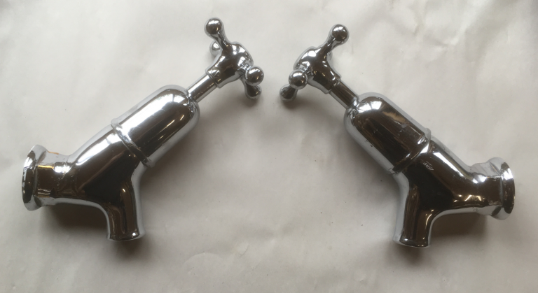 Internally Restored, Angled Bath Globe taps – FOR SALE