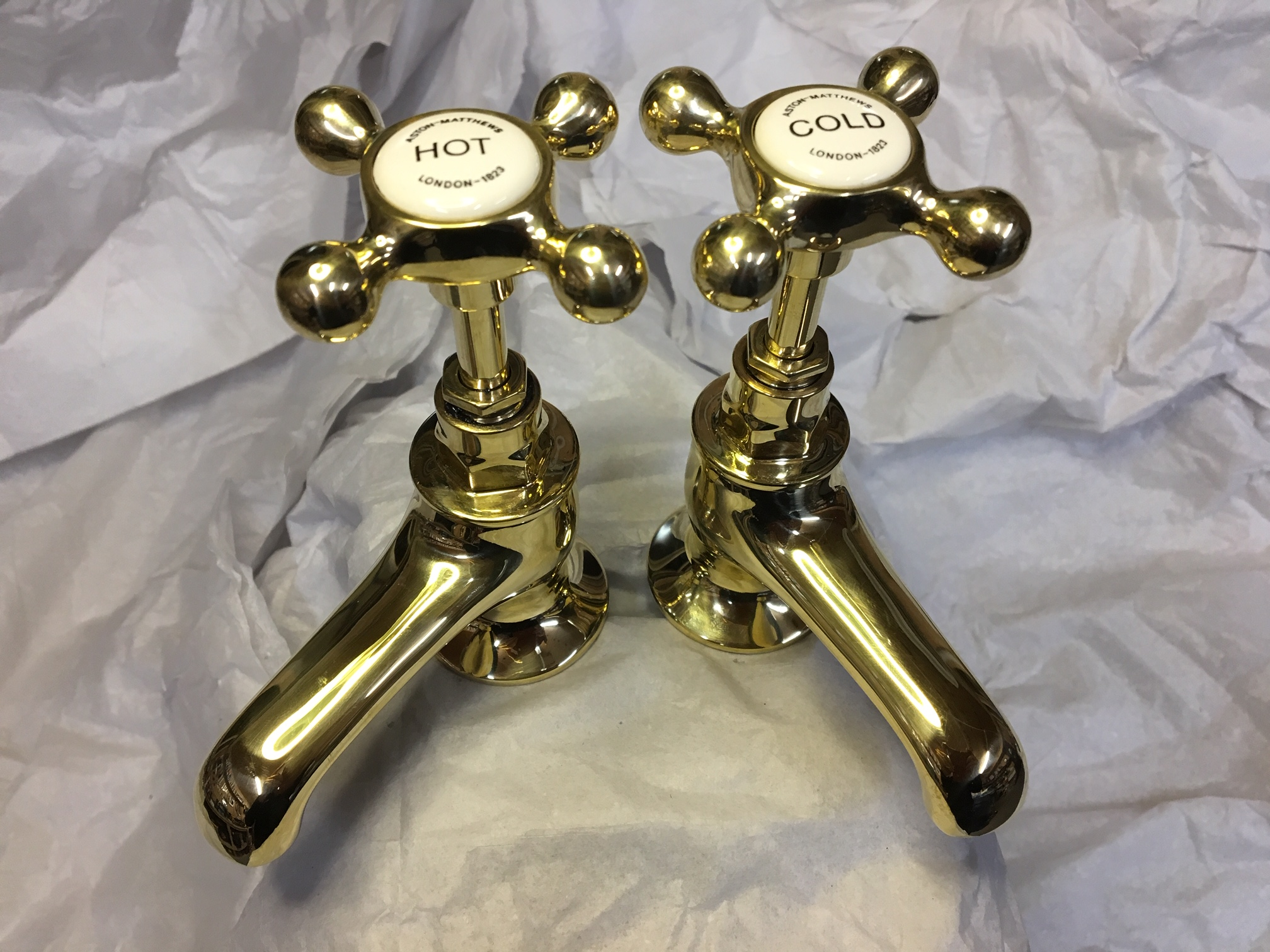Antique Polished Brass Basin taps – FOR SALE