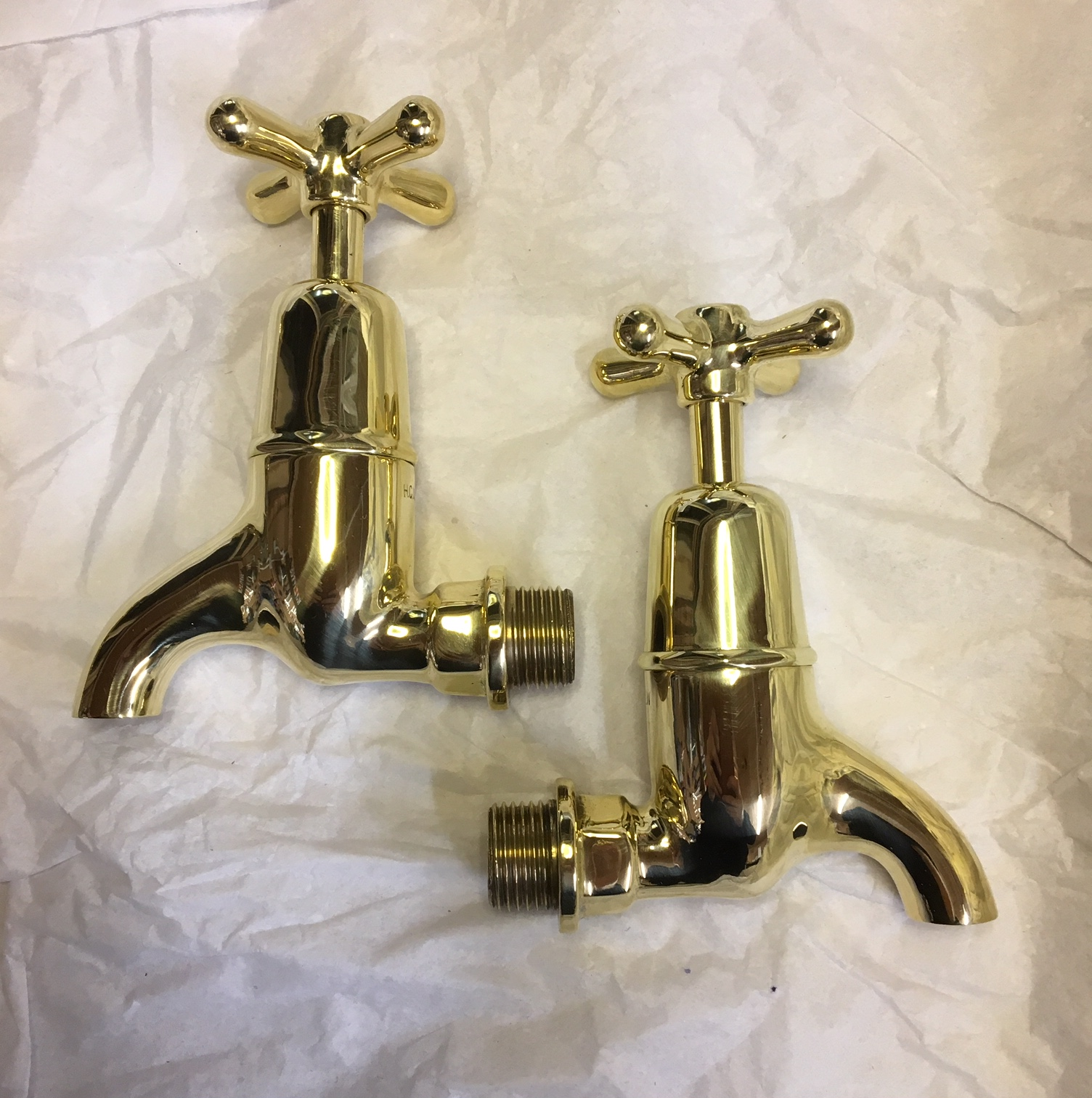 Polished Brass Bib taps – H.C.W.W. – FOR SALE